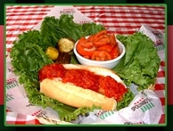 meatball sub with tomato salad