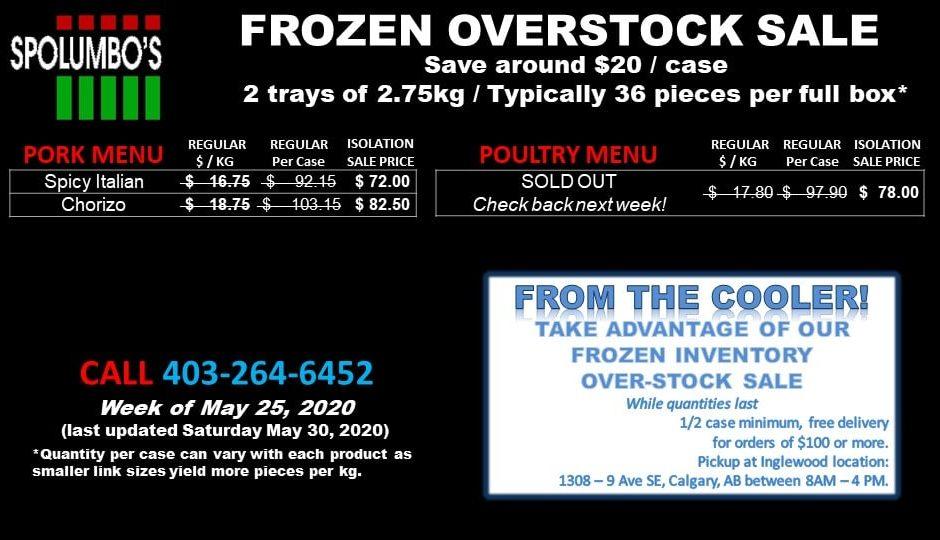 Frozen Overstock May 30 2020